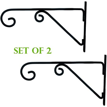 Wood Art Store Wall Bracket for Bird Feeders and Houses Planters Lanterns Wind Chimes Hanging Baskets Ornaments String Lights - Set of 2, iron, Black