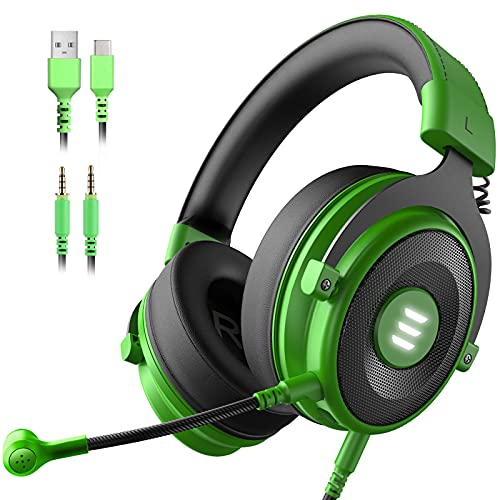 EKSA E900 PS4 Gaming Headset - PC USB Headset with 7.1 Surround Sound Detachable Microphone&LED Light, Gaming Headphones Compatible with PC, PS4, PS5, Xbox One, Computer, Laptop