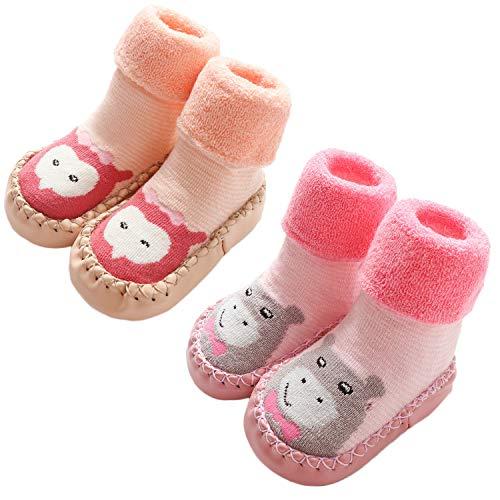 Adorel Calcetines Antideslizantes Termicos para Bebé 2 Pares Pink Hipopótamo & Búho 21-22 (Tamaño del Fabricante 14)
