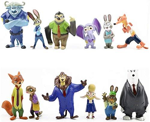 WYETDAS 12 Uds Zootopia/Zootropolis Judith Laverne Hopps Figura de Juguete Modelo de Pastel Figuras de acción Figura de Anime Adornos de Juguete