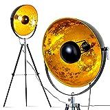 Lámpara de pie Saturno XXL, Negro y dorado, 1x E27 40W, XXL, altura ajustable