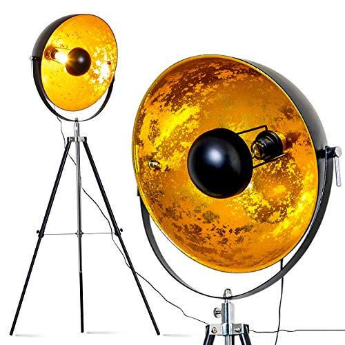 Lampadaire Saturn XXL vintage à abat-jour métallique noir et doré, pour ampoule E27 max 40 Watt (compatible LED), lampadaire orientable au design retro