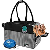 PetAmi Airline Approved Dog Purse Carrier   Soft-Sided Pet Carrier for Small Dog, Cat, Puppy, Kitten   Portable Stylish Pet Travel Handbag   Ventilated Breathable Mesh, Sherpa Bed (Stripe Black)