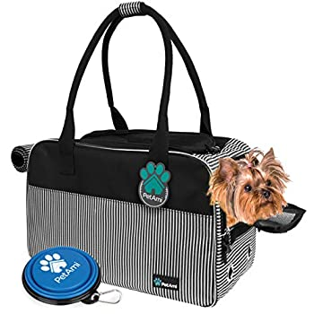 PetAmi Airline Approved Dog Purse Carrier   Soft-Sided Pet Carrier for Small Dog Cat Puppy Kitten   Portable Stylish Pet Travel Handbag   Ventilated Breathable Mesh Sherpa Bed  Stripe Black