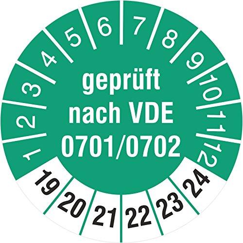 200 Stück geprüft nach VDE 0701/0702 18 mm Prüfetikett Prüfplaketten Rollenware türkis 2019-24