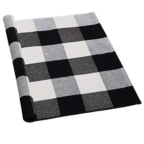 sourcing map Teppich Wohnzimmer Schlafzimmer Kinderzimmer Plaid aus Baumwolle für In- & Outdoor, gewebte, waschbare Buffalo-Teppich mit Karierten Matten Schwarz-Weiß 60x90cm