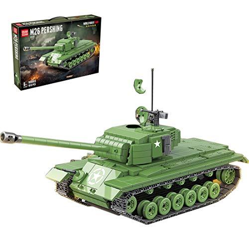 PEXL Technic Tank Building Set, US M26 Pershing WW2 - Juego de construcción de tanque militar, 1000 bloques y 6 minifiguras, compatible con Lego