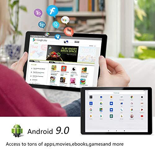 YOTOPT Tablet 10 Zoll mit Tastatur und Maus, Android 9.0, 4G Dual SIM, 64GB, 4GB RAM, Wi-Fi/Bluetooth/GPS, Type-C, Schwarz