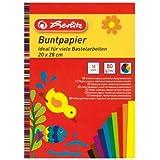 Herlitz Buntpapierblock, 20 x 28 cm, 10 Blatt, 5-er Pack, einseitig gefärbt, 10 Farben