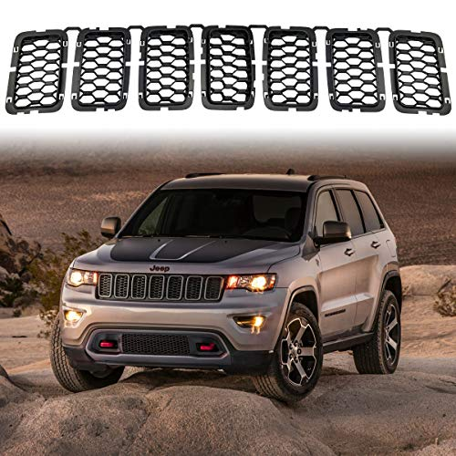 Matte Black Honeycomb Front Grill Inserts Mesh Grille Fits 2017, 2018, 2019, 2020, 2021 Jeep Grand Cherokee 7PCs