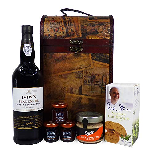 Dows Port 75cl with Nibbles Food Hamper Presented in a Vintage Style Wine Carrier - Ideas for Birthday, Valentines, Father's Day, Anniversary, Business, Corporate & Congratulations