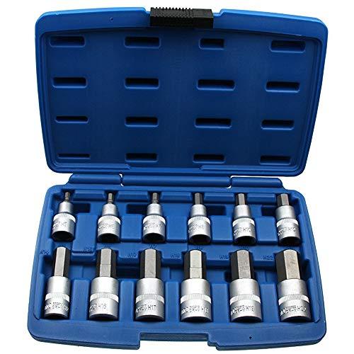 12 x Kraft Innensechskant Einsatz / Steck-Nuss Schlüssel für Innen-6-kant Schrauben Steckschlüsseleinsatz Schraubenschlüssel-Einsatz Größe 5-22 mm 1/2