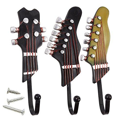 Set van 3 decoratieve muurhaken - ijzeren haken, Shabby chique gitaar gevormde haken voor sleutels, hoeden, jassen, sjaals, bruin