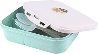 Dolloress Wheat Lunch Box 3 Compartment Bento Box Case Food Containers with Spoon&Fork Combo for Kids Students Back to Sch...