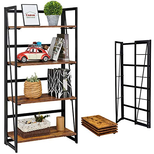 Coavas Folding Bookshelf Home Office Industrial Bookcase No Assembly Storage Shelves Vintage 4 Tiers Flower Stand Rustic Metal Book Rack Organizer Vintage Brown, 23.6 X 11.8 X 49.4 Inches