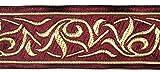 10m Renaissance Fleur Borte Webband 35mm breit Farbe: Bordeaux-Gold von 1A-Kurzwaren 35001-bogo