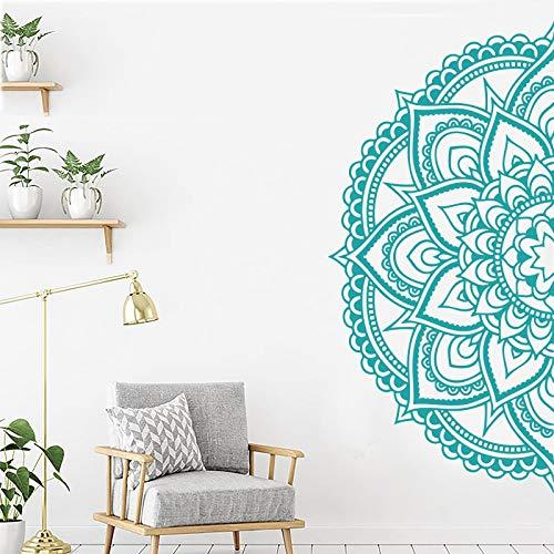 Calcomanía de media mandala para Yoga, regalos, estudio, regalo de apertura, decoración, geometría sagrada, pegatina de pared extraíble A8 57x115cm