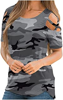 Wanxiaoyyyindx Work Blouses for Women, Camouflage Printed Short Sleeve T Shirt Women O-neck T-shirt for Ladies Summer Dist...