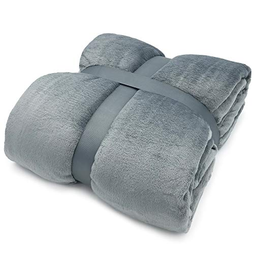 """Caldimore Luxurious Flannel Fleece Throw Blanket - Super Soft Fluffy Double Sided Warm Solid Bed Throws for Sofa Microfiber Blanket 200 x 220cm (78"""" x 87"""") Grey / Silver 