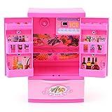 Zerodis Frigo da cucina artificiale Frigo rosa Mini Frigo per bambini con mamma Gioca a giochi per bambini e cassetti Gioco educativo giocattolo per bambini
