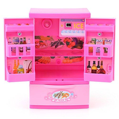 Zerodis Künstliche Kühlschrank Küche Rollenspiel Spielzeug Mini Geburtstag Weihnachten Geschenke für Kinder Rosa