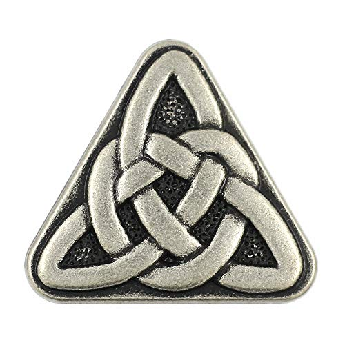 Bezelry 10 Pieces Triangle Celtic Sister Knot Metal Shank Buttons. 25mm (1 inch) (Antique Silver)