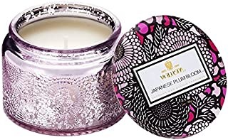 Voluspa Japanese Plum Bloom Small Embossed Glass Jar Candle, 3.2 Ounces