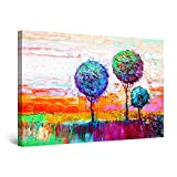 Startonight Cuadro Moderno en Lienzo Pintura Abstracta, Tres Árboles Multicolores, Decoración de la ...