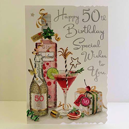 Jonny Javelin - Tarjeta de felicitación de 50 cumpleaños para mujer, diseño de cócteles