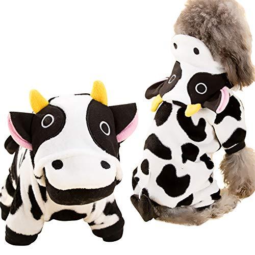 ICOUCHI ドッグウェア パーカー フード付き つなぎ 犬猫用 コート 可愛い 牛 変身 ふわふわ フリース 厚い ...