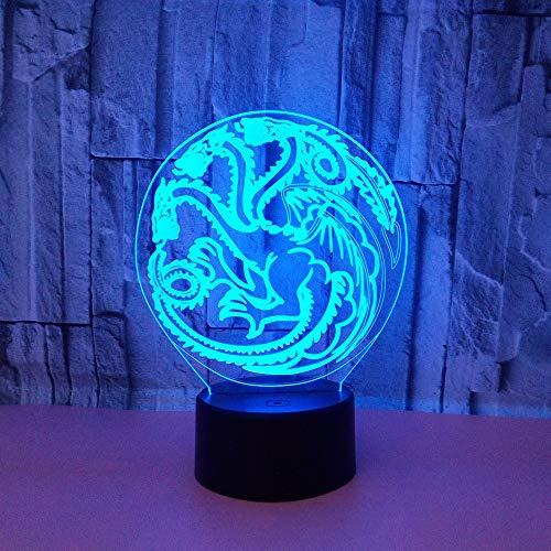 3D spel draak logo nachtlicht LED optische illusie lamp 7 kleuren touch schakelaar bureaulamp voor slaapkamer kantoor kinderkamer decoratie licht