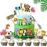 Animal Cupcake Toppers, 45 Piezas Animal Decoraciones de la Torta, Animales Cupcake Toppers, Feliz Cumpleaños Pastel Topper, para Niños Ducha de Bebé Fiesta de Cumpleaños DIY Decoración Suministros