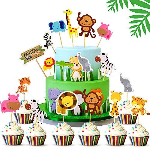 WELLXUNK Animale Torta Toppers, 45 Pezzi Giungla Tema Torta Toppers, Compleanno Cupcake Toppers, Personalizzato Cake Topper, Decorazioni per Cupcake, per Matrimonio, Festa di Compleanno e Baby Shower