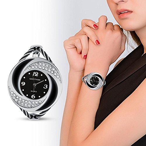 Reloj de Cuarzo para Mujer, Reloj analógico de Cuarzo con Diamantes de imitación, Brazalete Abierto, Reloj torbellino con Caja(#04)