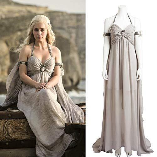 Rubyonly Daenerys Targaryen Cosplay del Traje de Canción de Hielo y Fuego Juego de Tronos de Vestuario Largos Trajes del Vestido de Cabestro Gra,S