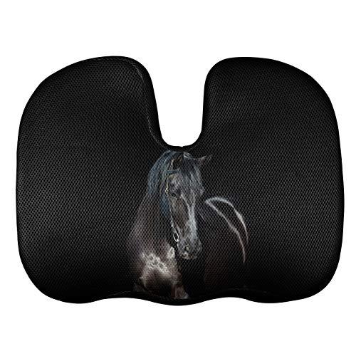 Agroupdream - Cojín antideslizante para asiento de silla de espuma viscoelástica con diseño de caballo negro para mujeres, hombres, oficina, asiento de coche, estudiante, aprendizaje