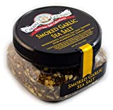 Caravel Gourmet Smoked Garlic Fine Sea Salt - Natural Sea Salt Blended with Minced Garlic, Slowly Smoked Over Alderwood - Gluten Free, No MSG, Non-GMO - 113.4 g. Stackable Jar