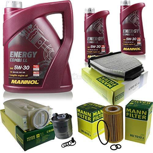 QR-Parts Set 85505937 HU 7010 z MN7907-5 MN7907-1 FP 29 005/1 C 35 005 WK 8016 x paquete de inspección 7 L Energy Combi LL 5W-30 + paquete de filtros MANN 10930192