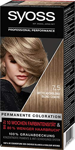 Syoss Haarfarbe Coloration Mittelaschblond 7_5 Stufe 3, 3er Pack(3 x 115 ml)