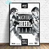 shuimanjinshan Art Poster UFC 244 Nate Diaz Vs Jorge Masvidal MMA Fight Canvas Painting Posters and Prints Wall Art for Living Room Home Decor 50x70cm 01