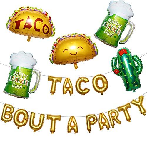 meekoo Suministros Taco Globo Cactus Kit Taco Combate Hoja hincha Cactus Grande Globos Globos de Cerveza de Compromiso Bachelorette Taco Cumpleaños Decoración Fiesta Mexicana