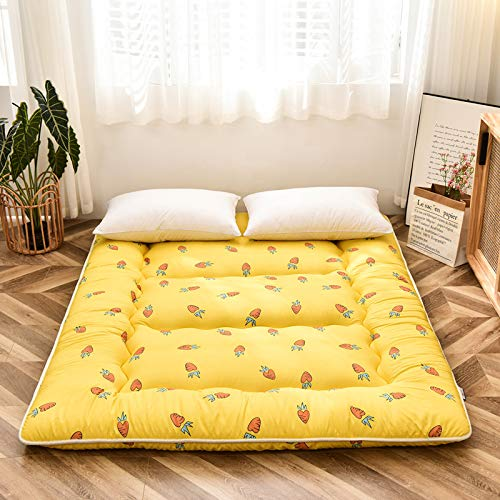 Colchón de Futón Colchón de Piso Blando Grueso Colchón Doble Individual Tatami Colchón Plegable del Dormitorio de Estudiantes Japoneses,Yellow-180cmx200cm