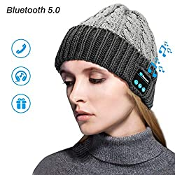 Zwini Bluetooth Beanie Wireless V5.0 Bluetooth Hat Beanie Women Men Winter Warm hats with headphones Headset Mic Speakers for running, skiing, skating, hiking