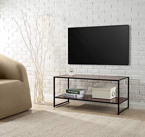 Zinus, Banco para televisor con estante Garrison de 102cm con estructura metálica en negro, Fácil montaje, madera veteada en rojo caoba