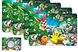 Pikachu Pokemon Kids Placemats -4pcs Toddler Pokemon Placemats Cute Kawaii Coasters Place Mats for Table Mat ,Plastic Waterproof Heat-Resistant and Stain-Resistant Placemats for Kitchen Accessories