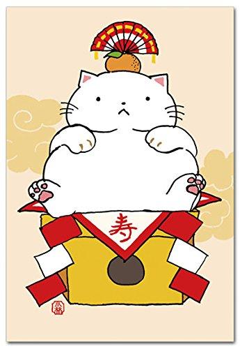 ほのぼの浮世絵ポストカード 「鏡餅ねこ」 猫絵葉書 年賀状