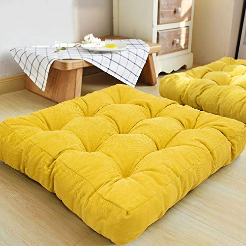 HIGOGOGO Floor Pillow, Square Meditation Pillow for Seating on Floor Solid Thick Tufted Seat Cushion Meditation Cushion for Yoga Living Room Sofa Balcony Outdoor, Yellow, 22x22 Inch