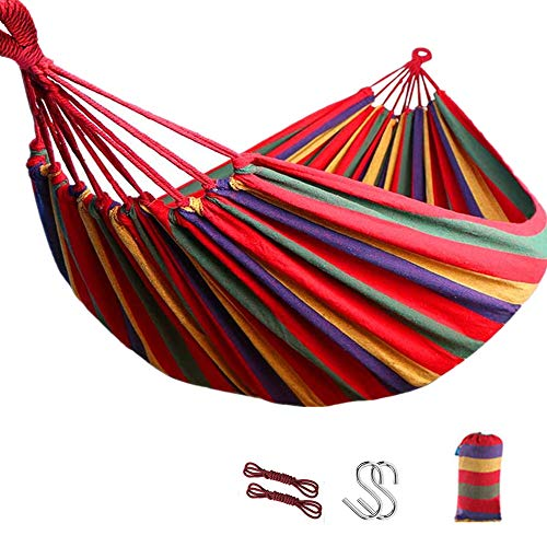 ZHONGLI 2 Person Hammock Double Large Canvas Cotton Hammock for Patio Porch Garden Backyard Lounging Outdoor and Indoor, 450lbs Ultralight Camping Hammock