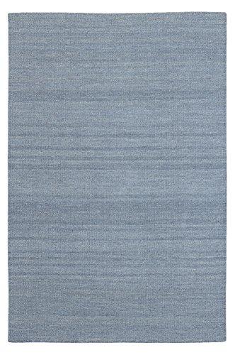 Morgenland Kelim Teppich FANCY Grau Einfarbig Uni Wollteppich Kurzflor Handgewebt 180 x 120 cm