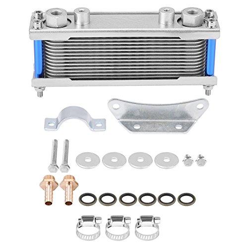 Qiilu Ölkühler, Upgrade Aluminium Motorrad Ölkühler Motorölkühler 80 Ml Ölkühler Kühler für 50CC-200CC Universal Motorrad (Silber)